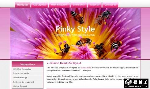 粉红花蕊蜜蜂产品信息网页模板