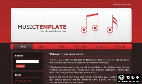 红色音乐产品网页模板
