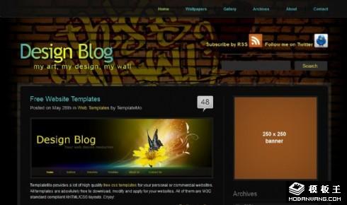 黑色艺术画廊BLOG网页模板
