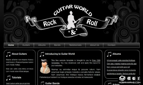 黑色吉他摇滚音乐网页模板