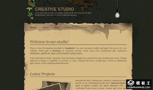 创意旧黄纸界面网页模板