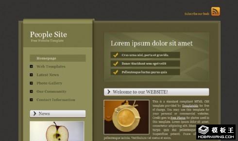 二列军绿色信息网页模板