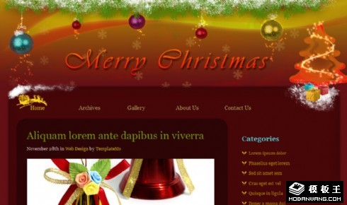 圣诞节风格BLOG网页模板