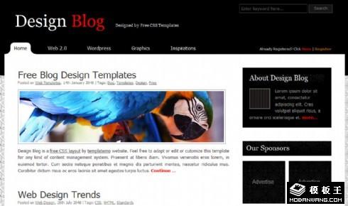黑色设计图文BLOG网页模板