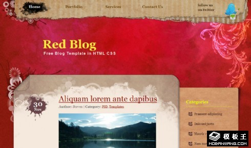 红色复古花纹BLOG网页模板