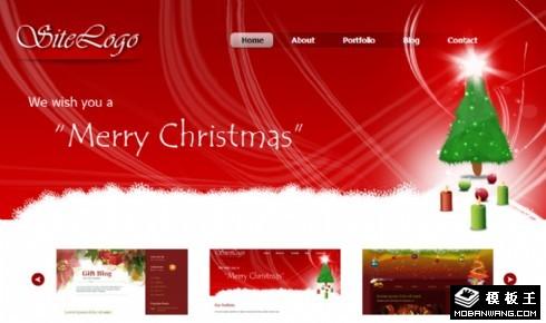 红色圣诞节主题信息网页模板