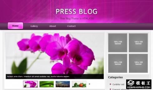 紫色自然鲜花日志网页模板