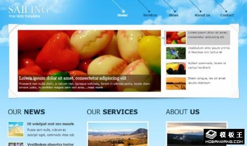 蓝色帆船信息展示网页模板