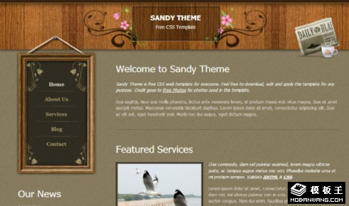 沙色主题介绍网页模板