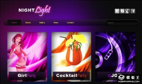 夜灯光派对娱乐网页模板