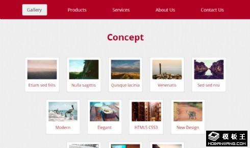 红色图库展示响应式网站模板