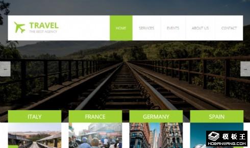 绿色旅行服务动态响应式网页模板
