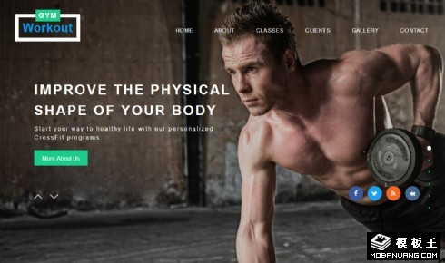 健身中心展示服务响应式网页模板
