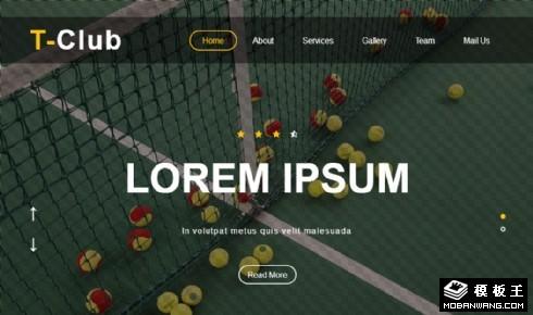 网球俱乐部介绍展示响应式网页模板