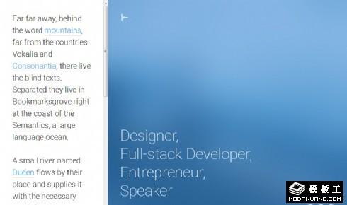 二列单页面说明展示响应式网页模板