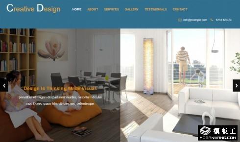 创意室内设计展示响应式网页模板