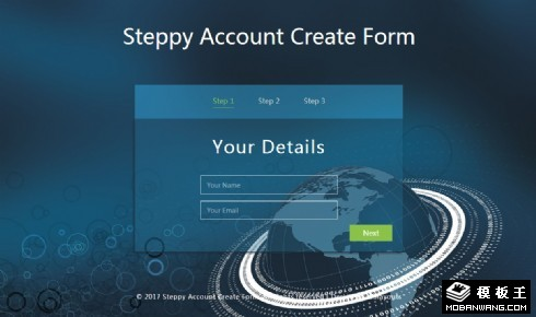 数字账户创建表单响应式网页模板