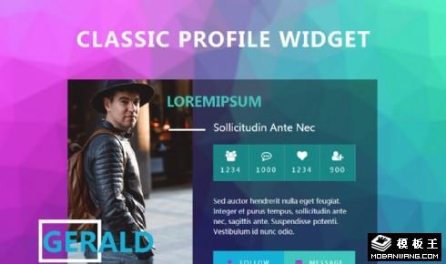 紫蓝个人中心组件响应式网页模板