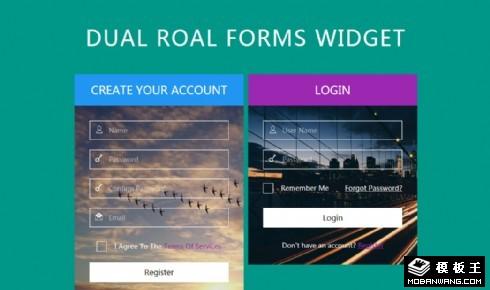 背景登录注册框响应式网页模板