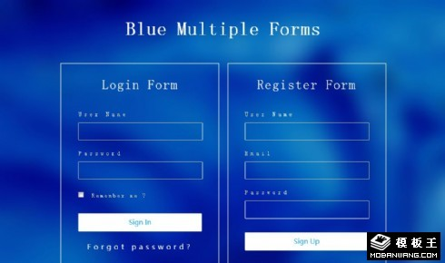 水蓝注册登录框响应式网页模板