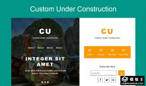 建设中倒计时推荐信息响应式网页模板