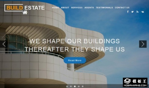房地产建设工程响应式网页模板