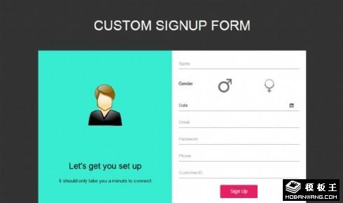 用户账号注册表单响应式网页模板
