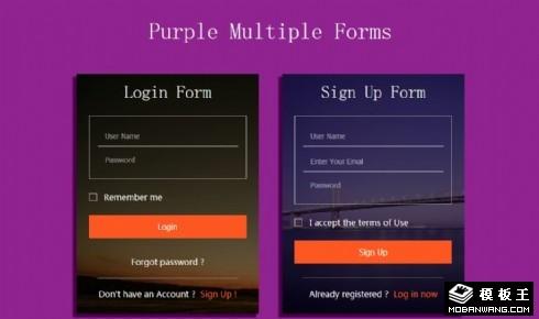 紫色多形式表单网页模板