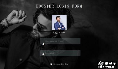 黑色人物登录框响应式网页模板
