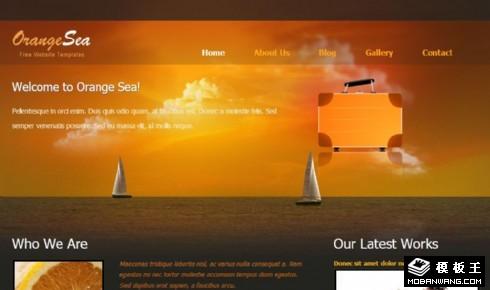 橙色大海风帆信息网页模板