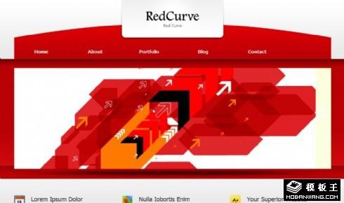红色导航曲线信息网页模板