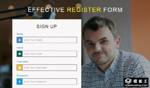 客户登记注册表单响应式网页模板