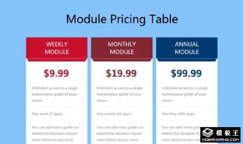 价格参数模块响应式网页模板
