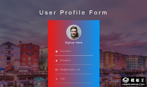 水岸用户信息登记响应式网页模板