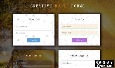 多种创意登录注册表单响应式网页模板