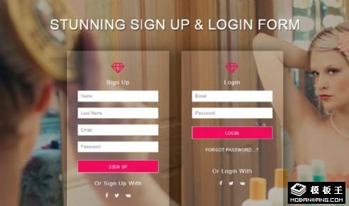 美容注册登录框响应式网页模板