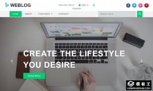 网络产品日志响应式网页模板