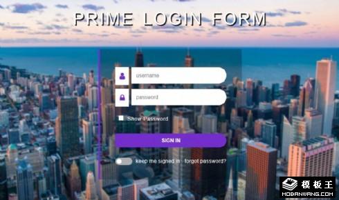 城市登录框响应式网页模板
