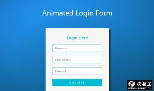 蓝色登录窗口响应式网页模板