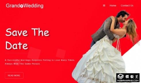 红色婚礼纪念日响应式网站模板