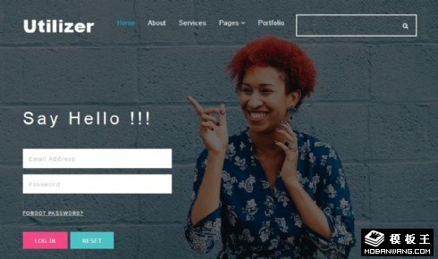 企业登录框响应式网页模板