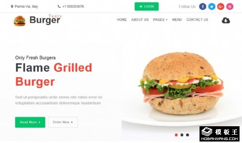 美味汉堡响应式网站模板