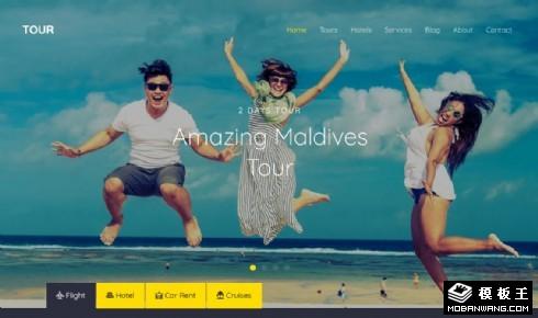 旅行交通酒店服务响应式网站模板
