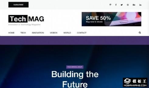 科技数码杂志媒体响应式网站模板