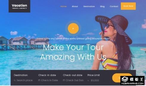 假期旅行推荐展示响应式网页模板