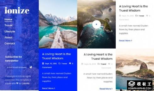 旅行生活日志聚合响应式网页模板