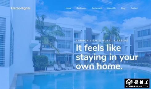 海滨度假酒店餐厅响应式网页模板