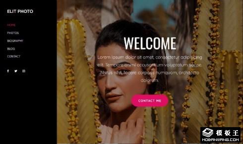 黑色摄影作品单页响应式网页模板