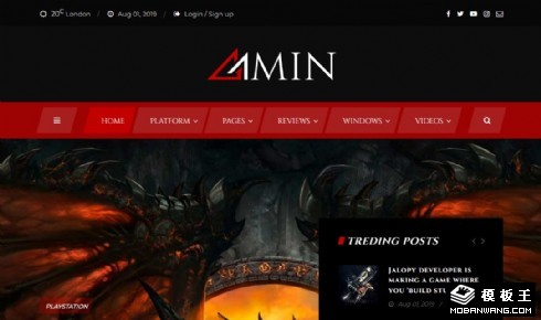 暗黑游戏门户响应式网站模板