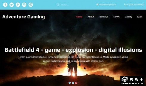 大型冒险游戏响应式网页模板